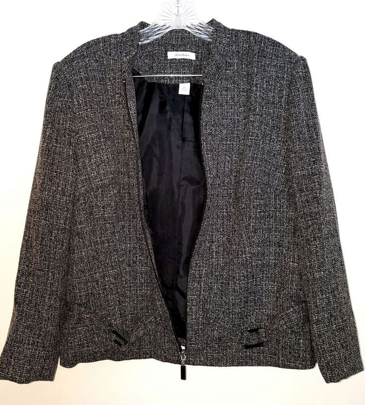 Dressbarn Women's Black Long Sleeve Lined Zip Up Blazer Size XL #Dressbarn #Blazer