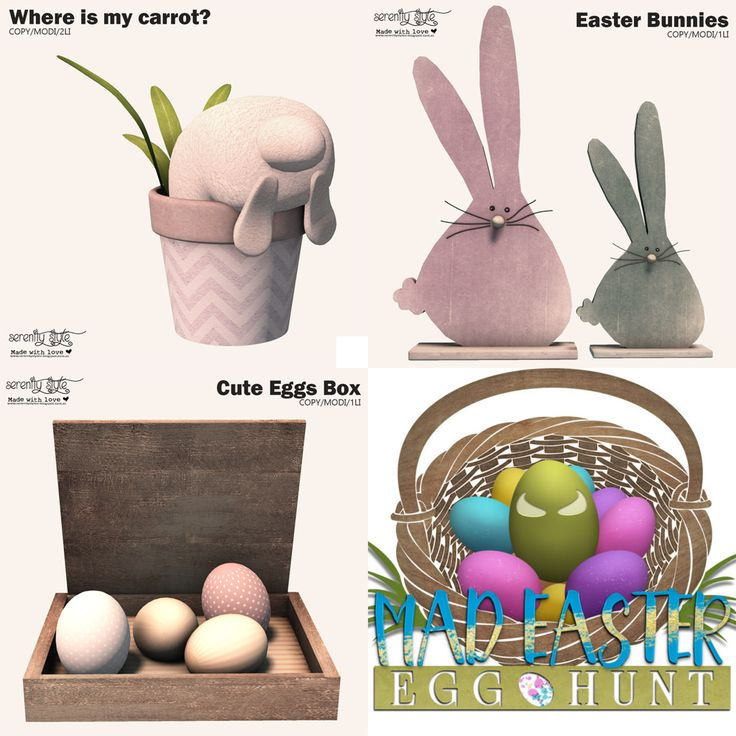 https://flic.kr/p/Sg7P1L | Serenity Style for Mad Easter Egg Hunt | Today start a funny easter hunt organized by MadPea. Serenity Style is involved in this event with 3 different cute items .  Please, see all the info about the hunt here Mad Easter Guide for Hunters