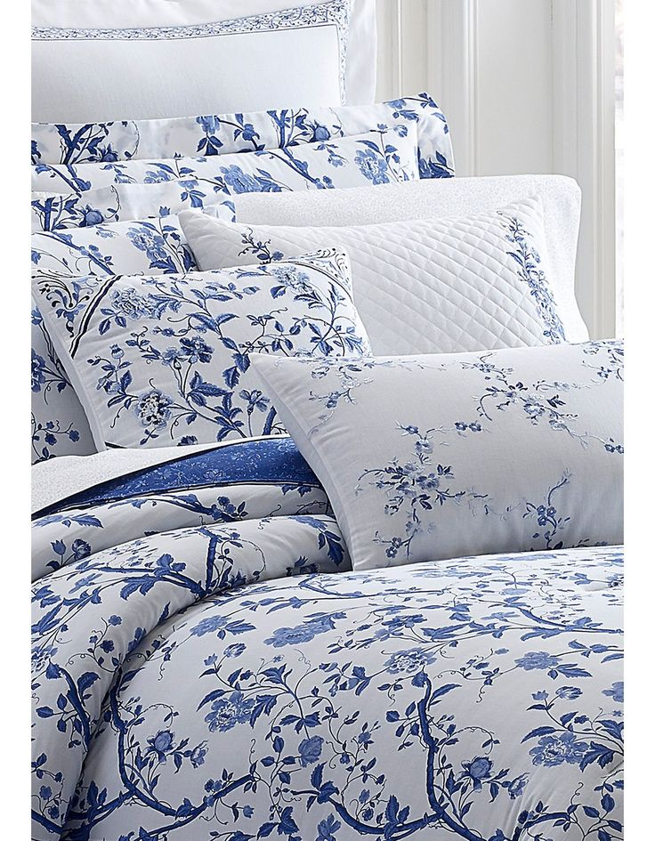Laura Ashley Charlotte Full Comforter, Laura Ashley Charlotte Blue Bedding
