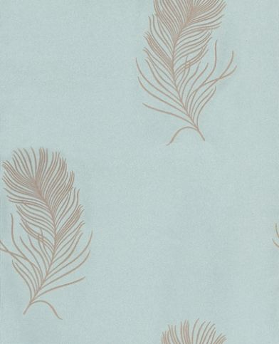 Marion (RBI5825 6025) - Caselio Wallpapers - A pretty feather motif design in a raised texture - Showing in beige with glitter on a sky blue background. Other colour ways available. Please request a sample for true colour match. Paste-the-wall product.