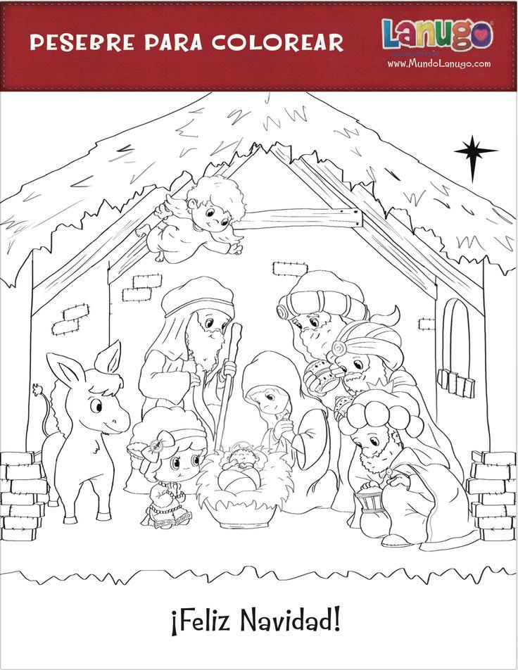 Free printable coloring page of a nativity scene for Christmas and Día de Reyes (pesebre para colorear) via @MundoLanugo