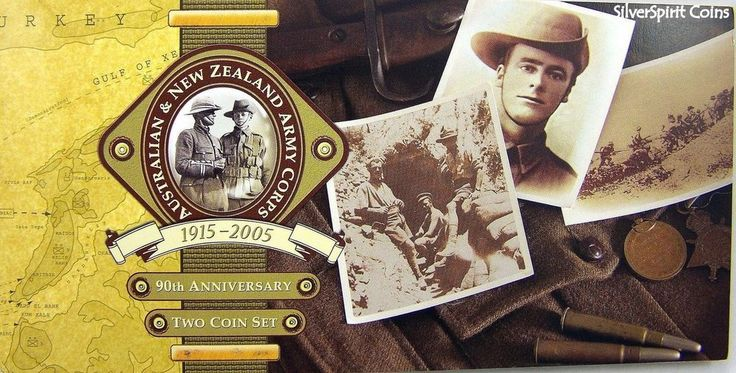 2005 ANZAC 90th ANNIVERSARY TWO COIN UNC SET on Card