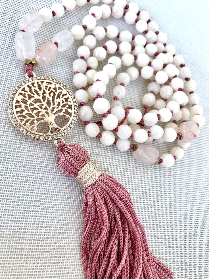 Tree of life mala necklace, Cream pink jade necklace, gemstones necklace, Yoga mala, Tassel necklace, Meditation necklace, 108 Mala Beads by Katiaicrafts on Etsy