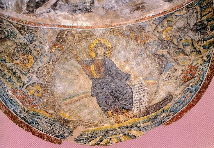 Latomou Monastery (Hosios David). Mosaic from the sanctuary apse(late  9th cent. A.D.) -Unesco   Thessaloniki.Greece
