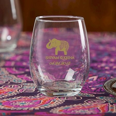 Indian Jewel Personalized Stemless Wine Glass - Lucky Elephant Wedding ...