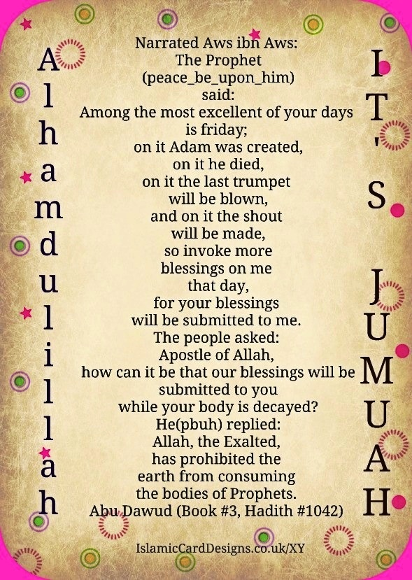 Friday's the best! Prophet Adam was created on Friday, for starters.... Alhamdulillah, it's Jumuah