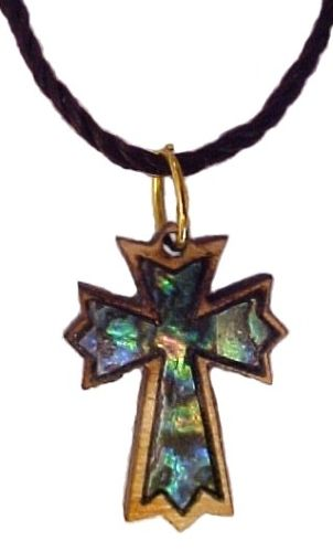 Olive Wood and Mother of Pearl Necklace, Ornate Latin Cross.Every Cross in this collection is unique because of the variety of the Olive Wood grains and the richness and Brilliance of the Mother of Pearl.  Multi colours. No two pieces are alike. A timeless beauty with universal expression of faith! A great gift for men or woman!  Inspire and Share your Christian Message! Excellent Giveaway gift for Retreats, Conferences, Schools, Church Members, Christening, Baptizing, Holidays.