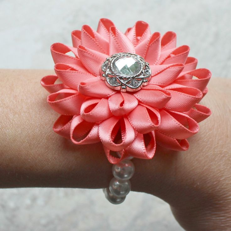 Wrist Corsage, Flower Wrist Corsage, Coral Flower Corsage, Prom Corsage, Wedding Corsages, Bridesmaid Corsages, Mother of Bride, Homecoming by PetalPerceptions on Etsy https://www.etsy.com/listing/244430563/wrist-corsage-flower-wrist-corsage-coral