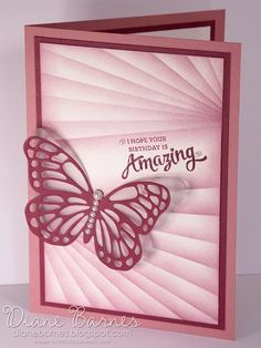 Masked butterfly birthday card using Stampin Up Mixed Borders stamp set & new colour sweet sugarplum. By Di Barnes #colourmehappy 2016-17 Annual Catalogue sneak peek