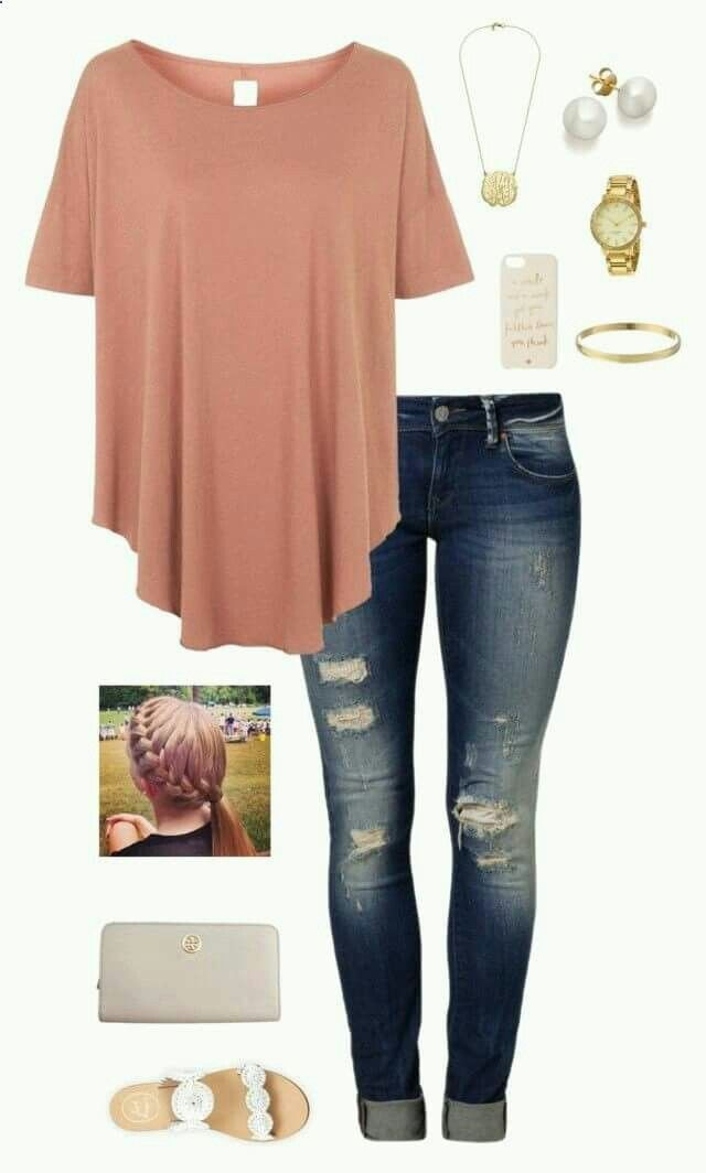 Cute top, but I could do without the holes in the jeans.