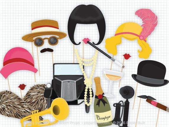 Celebrate the glitz and glamour of the roaring 20s at your Great Gatsby party with these 1920s photo booth props! This listing is for a printable PDF of my Jazz Age flapper theme photobooth props. There are 22 glamourous props in this collection perfect for a wedding photo booth including a flapper bob, wavy hair, a bowler hat, and all the pieces you need to have a roaring time at your 20s party.  Nothing will be emailed or shipped to you! The PDF can be downloaded directly from Etsy once…
