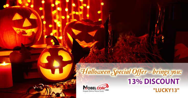 Hurry up and get your Halloween special offer now: 13% DISCOUNT with promo code LUCKY13 on all phone cards until October 31st.