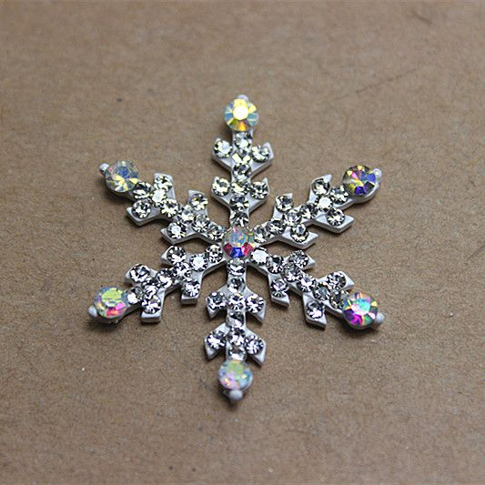 free shipping 10pcs/lot  31mm silver alloy clear rhinestone AB snowflake shape flatback for DIY phone deco