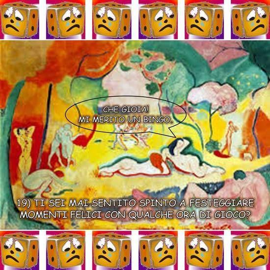 """CHE GIOIA! MI MERITO UN BINGO. Libera rivisitazione dell'opera """"Gioia di vivere"""" di Henri Matisse (1906), suggerita dalla diciannovesima domanda di Giocatori Anonimi: """"Ti sei mai sentito spinto a festeggiare momenti felici con qualche ora di gioco?"""". Dalla raccolta """"Anche i quadri te lo chiedono"""" di Vittorio Gioco: rielaborazione a fumetti di dipinti guidata delle venti domande di Giocatori Anonimi."""