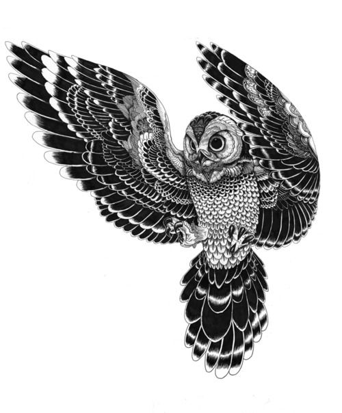 owl in flight by Iain Macarthur - beautiful tattoo idea