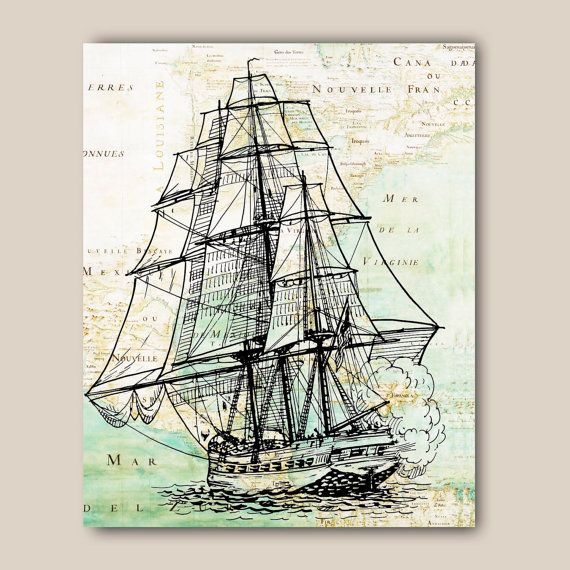 Nautical print black frigate sailboat Print 11X14 print by AlgaNet, $25.00