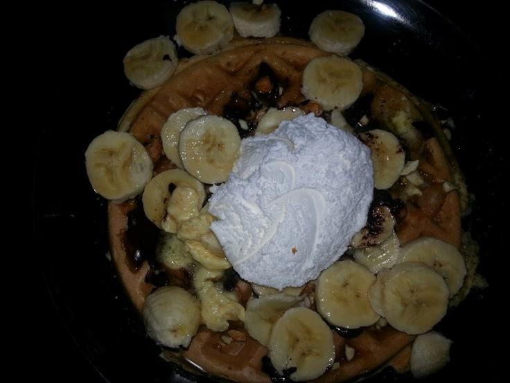 Belgium waffle with dark chocolate...bananas...raw sugar...syrup ...