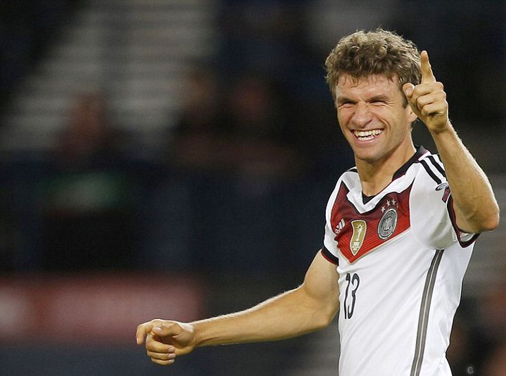 Muller points his finger and beams after scoring a brace to give Germany the lead for the second time at Hampden Park. 7.9.15 eurocup-qualifiers Scotland 2- Germany 3