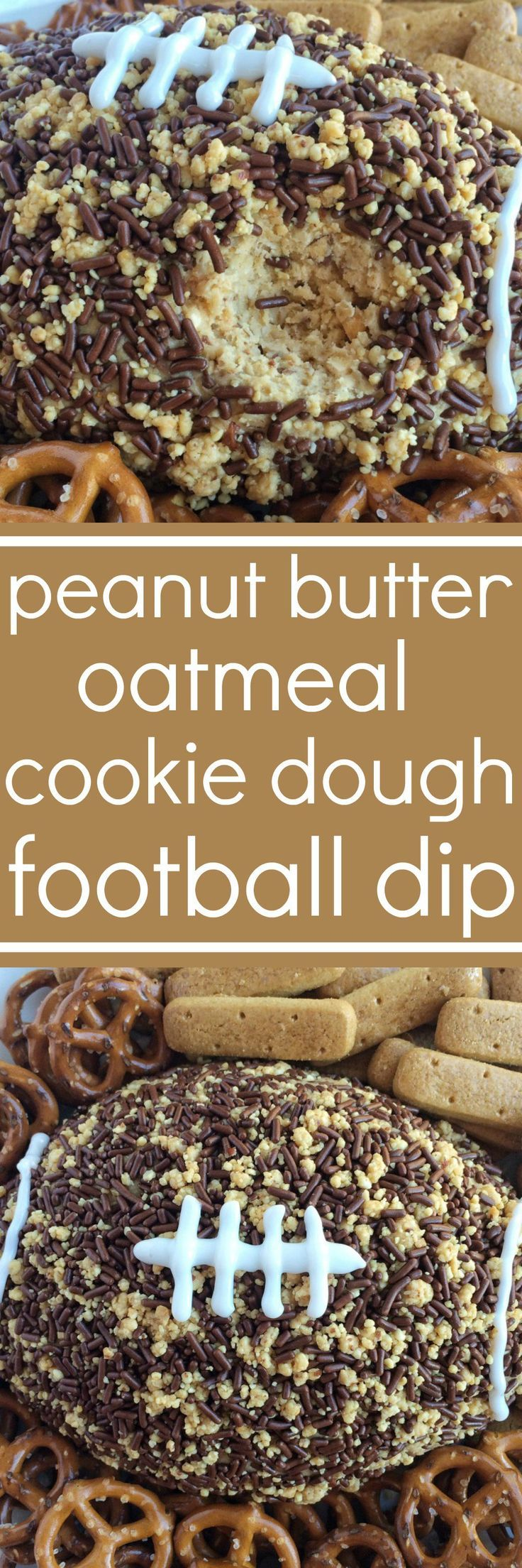 This snickers peanut butter oatmeal cookie dough football dip is sure to be a hit at your football party! An easy oatmeal cookie dough (no egg!) with peanut butter, and filled with crushed snickers peanut butter chocolate bars. The outside is covered in c