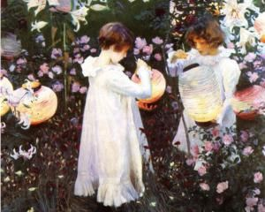 Carnation, Lily, Lily, Rose, from 'The World's Greatest Paintings' published by Oldham's Press in 1920  - John Singer Sargent: Lights, Lilies Rose, Artists, John Singer Sargent, Lilies Lilies, Gardens, Lanterns, Painting, Carnations Lilies