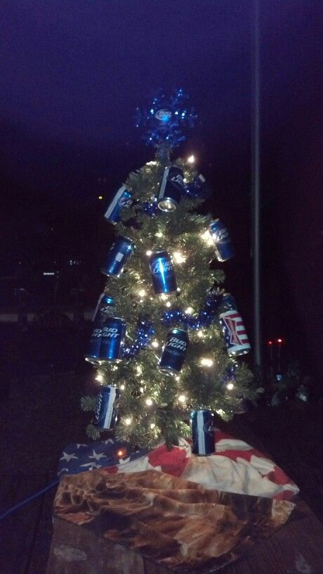 Bud light Christmas tree decorated by my sister and other ...