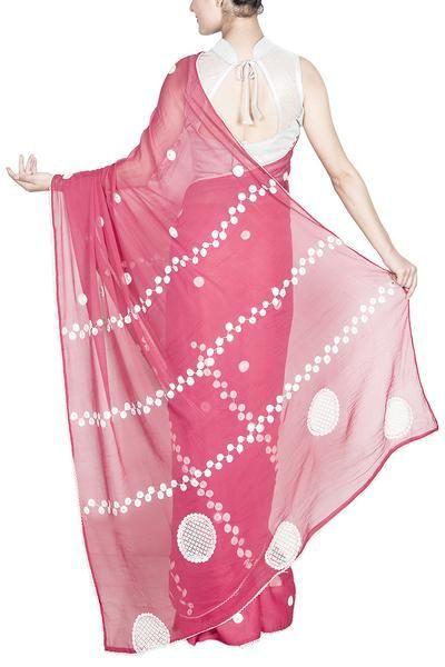 Dark pinkish coral Georgette saree