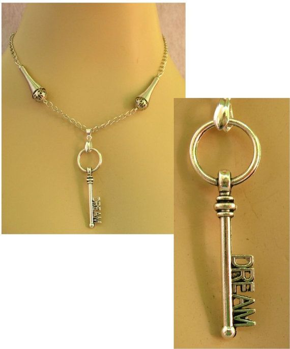 Silver Dream Key Pendant Necklace Jewelry Handmade NEW