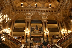 The Great Staircase in L'Opera-Garnier  Comissioned by Napoleon III and then overseen by Baron Haussmann