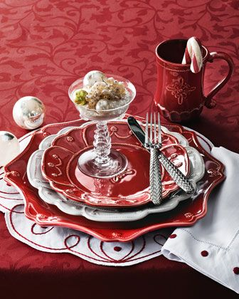 "Juliska ""Jardins du Monde"" Dinnerware, ""Landriana"" Placemat, & ""Berry"" Napkins - Neiman Marcus"