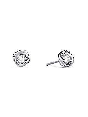 David Yurman Infinity Earrings with Diamonds - Silver