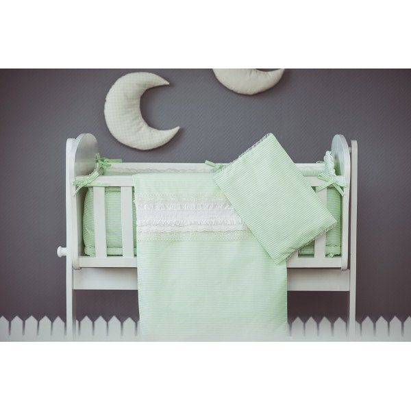 Duvet and pillow covers Green White - Cradle bedding gren white with ruffled lace - Baby bedding neutral by CotandCot on Etsy