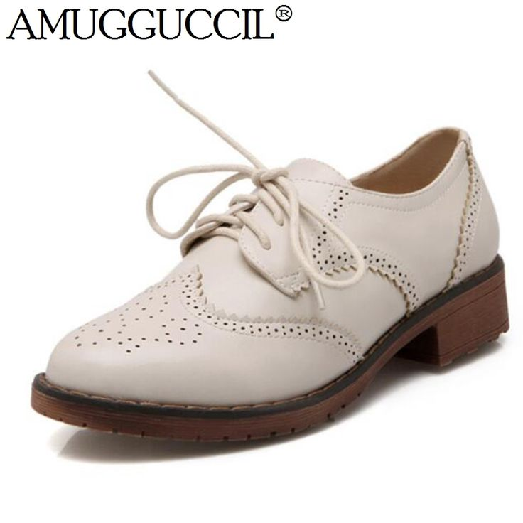 42.98$  Buy now - http://alinwo.worldwells.pw/go.php?t=32424599575 - 2017 New Arrival Big Size 34-40 Black Apricot Brown Lace Up Fashion Casual Spring Autumn Women Girls Brogue Shoes D915