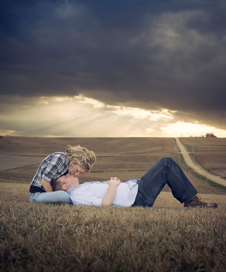farm engagement pic <3 the stormy look to this one!