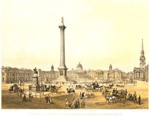 View looking across Trafalgar Square from Charing Cross, towards the National Gallery and Nelson's Column, St Martin's Church on the far right, in the foreground to the left is the equestrian statue of Charles I, the surrounding streets busy with pedestrians, riders, coaches and carriages.  1852  Colour lithograph