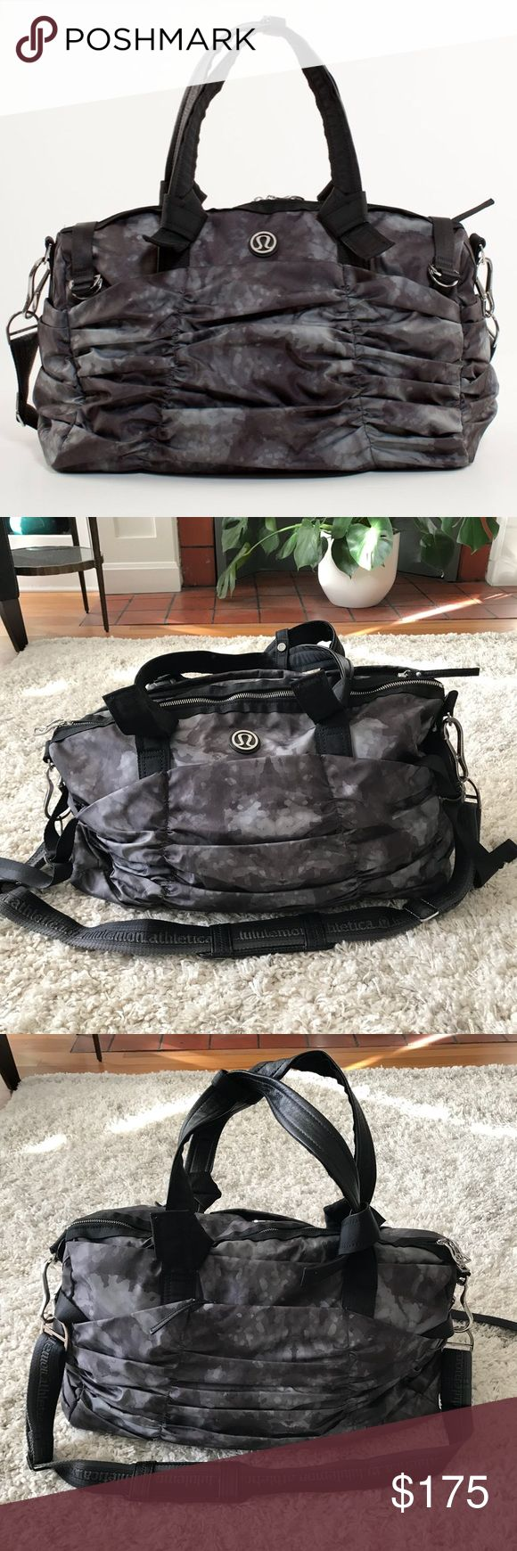 """🍋 Lululemon Destined for Greatness Duffel Rare Lululemon Destined for Greatness Duffel in Deep Coal Creekside Camo.  · Water-resistant Glyde – 100% polyester · Interior pockets, exterior zip pockets, laptop/tablet sleeve · Nylon mat straps · Adjustable shoulder strap · 14"""" high x 20"""" long x 7.25"""" wide  Does not include shoe pouch or laundry bag. Lightly used only as a carry on – no stains, holes or scratches – excellent, pre-owned condition. Bundle & save 💰! Sorry - 🚫 trades! lululemon…"""