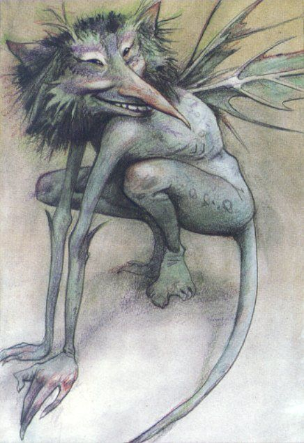 CHRISTINA ROSSETTI: Goblin Market - '...One had a cat's face, One whisk'd a tail, One tramp'd at a rat's pace, One crawl'd like a snail, One like a wombat prowl'd obtuse and furry, One like a ratel tumbled hurry scurry.' / Brian Froud