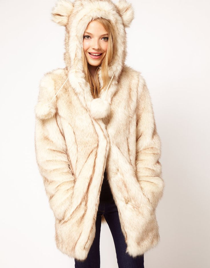 $73, Asos Faux Fur Hooded Coat With Ears. Sold by Asos. Click for more info: https://lookastic.com/women/shop_items/81399/redirect