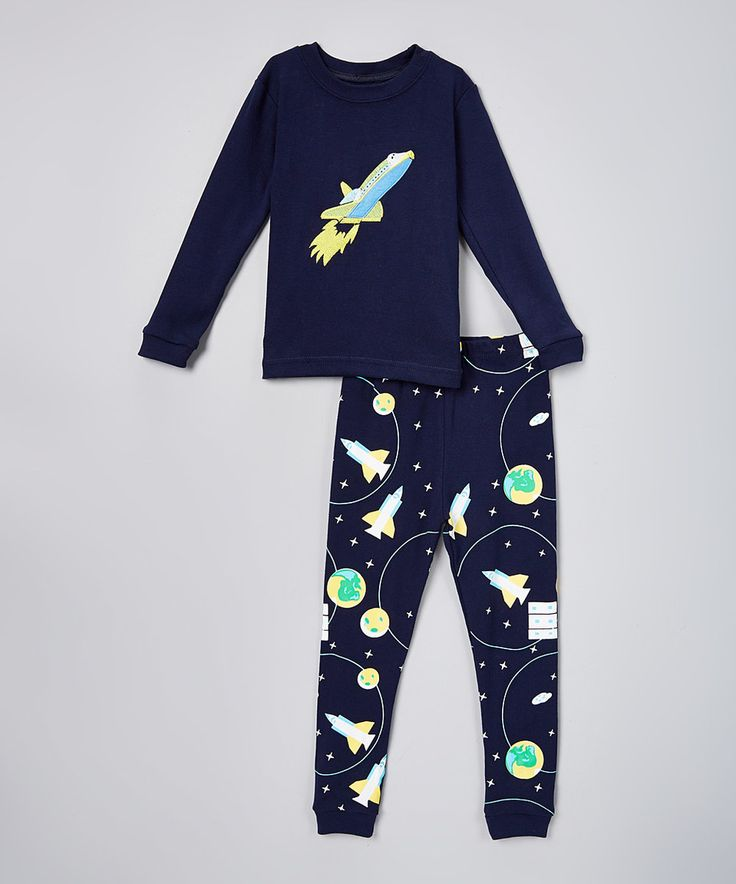 Another great find on #zulily! Navy Space Rocket Pajama Set - Toddler by el-ow-el pajamas #zulilyfinds