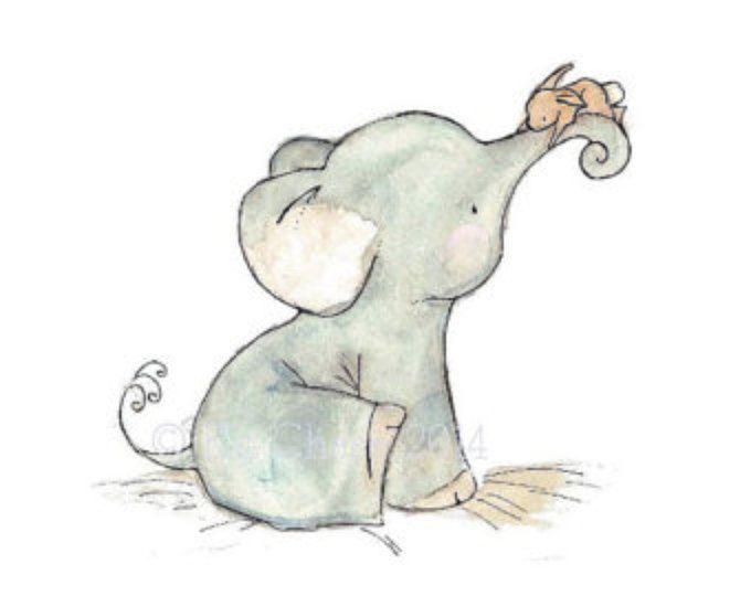 Baby Nursery kunst--Bunny Hug--Elephant en Bunny Wall Art olifant Wall Art, kunst aan de muur Bunny, Kinderkunst, Elephant Art Print