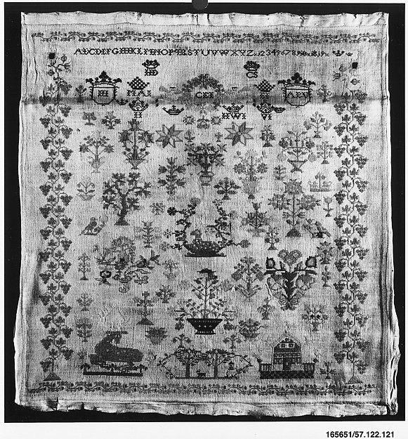Dutch cotton sampler with silk thread, 1819. | The Met