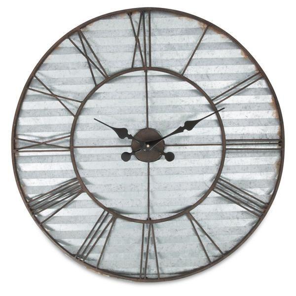 Casa Uno Industrial Sheet Metal Wall Clock 67cm Sheet Metal Wall Wall Clock Metal Clock