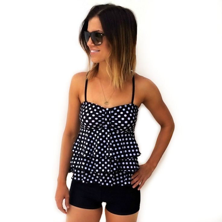 Polka Dot Tankini Peplum Back Swimsuit SALE!! $25.49 Monokini Suits http://www.monokinisuits.com