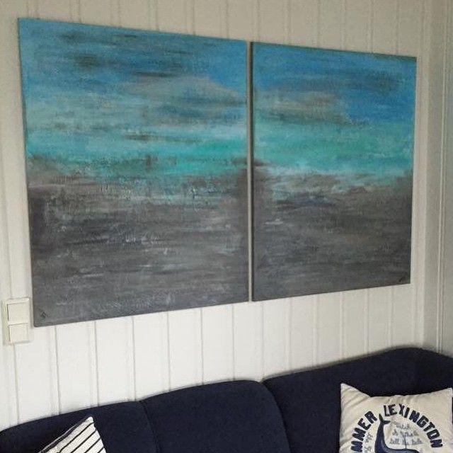 Et nytt par bestillingsbilder solgt, og de er allerede oppe på veggen på hytte ved sjøen 2 x 80cm x 100cm ☺️ Minner om at det ikke er kjøpeplikt ved bestillinger, og evt forespørsler kan sendes til kbstavrum@gmail.com  #maleri #malerier #akrylmaling #kunst #paint #paintings #artwork #acryl #acrylic #diy #hyttemagasinet #hytteliv #sold #bythesea #seaside #kreativ #kreativt #canvas #lerret