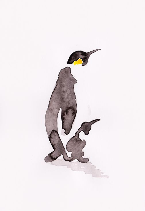 ARTFINDER: Penguin and a chick by Becca Alaway - A series of Penguin paintings using a loose ink and watercolor wash technique. Signed on the back. Each piece is on 130gsm high quality paper. Packaged ...