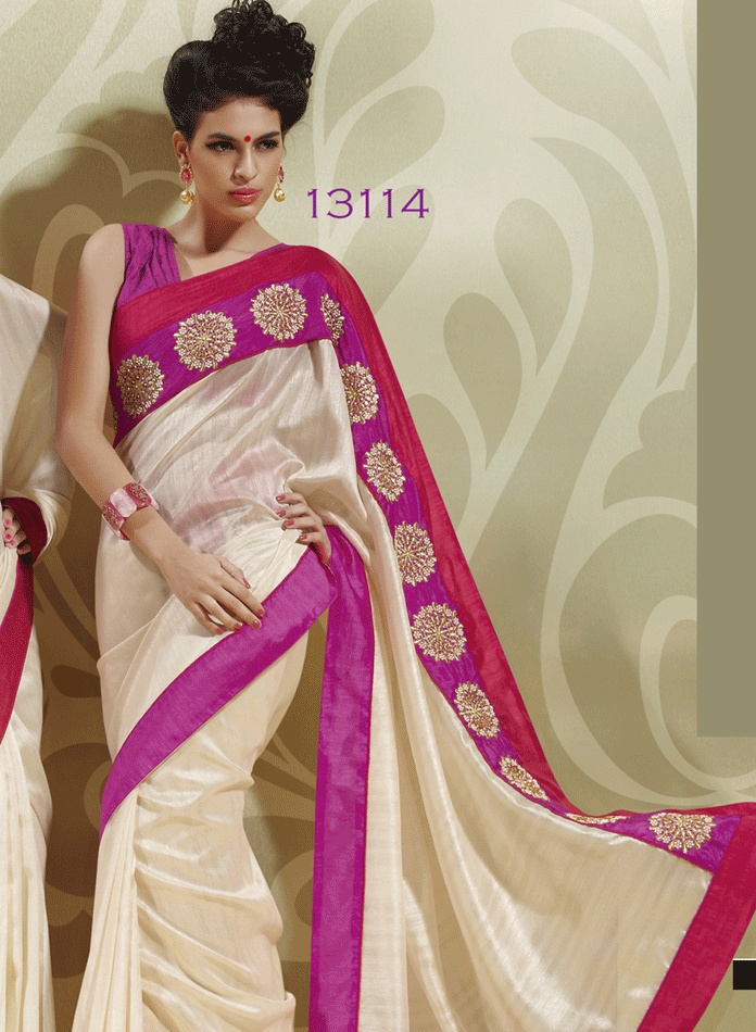 Deep Pink, Ivory & Red Color Art Silk Saree