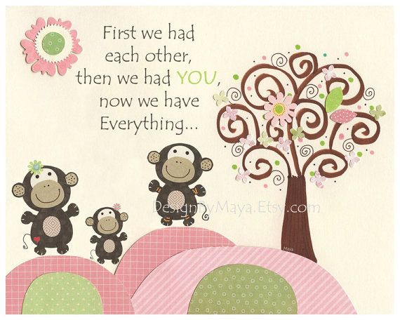 Monkey Nursery: Baby Girl Monkey Room Art, Nursery Wall Art Print - Safari Tree for Girls, Green Pink & sage, Monkey First We Had Each Othe