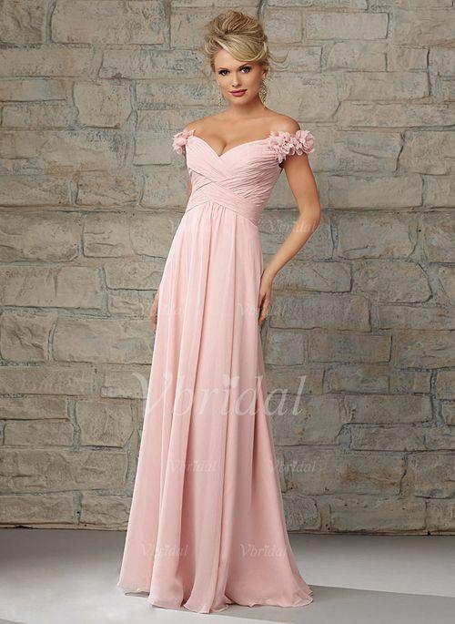 Bridesmaid Dresses - $110.51 - A-Line/Princess Off-the-Shoulder Floor-Length Chiffon Bridesmaid Dress With Ruffle Flower(s) (0075058678)