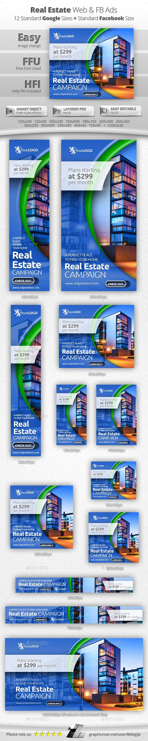 Real Estate Web & Facebook Banners Template #design Download: http://graphicriver.net/item/real-estate-web-facebook-banners/12950528?ref=ksioks