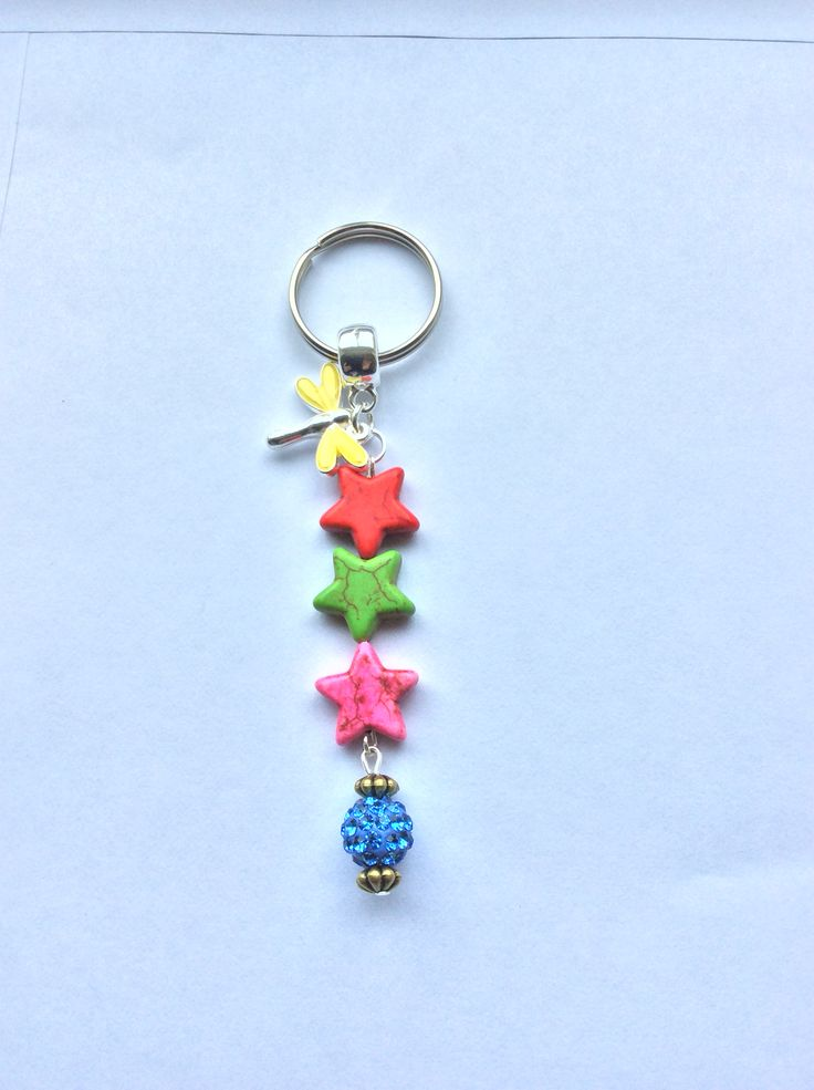 Rainbow Howlite stars bag/key charm