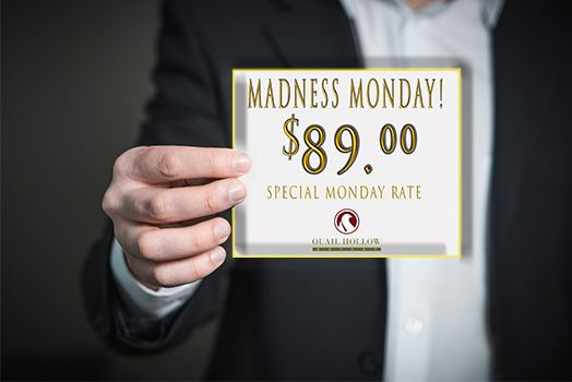 $89.00 special rate, every Monday!*  King or double guest room.  Enter our weekly drawing upon check-in for complimentary overnight stays, breakfast or dinner at CK's Lounge, and rounds of golf.  *Holidays not included BOOK TODAY! (440) 497-1100  #quailhollow #specialrate #ohiohotel #businesstravel #mondaymadness #89dollars (scheduled via http://www.tailwindapp.com?utm_source=pinterest&utm_medium=twpin)